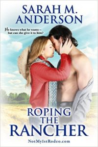 Cover of Roping the Rancher by Sarah Anderson a western romance novella with an older woman younger man couple